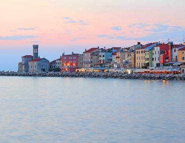 seafront panorama, coast, sunset, Slovenia