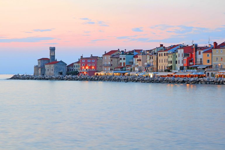 seafront panorama, coast, sunset, Slovenia