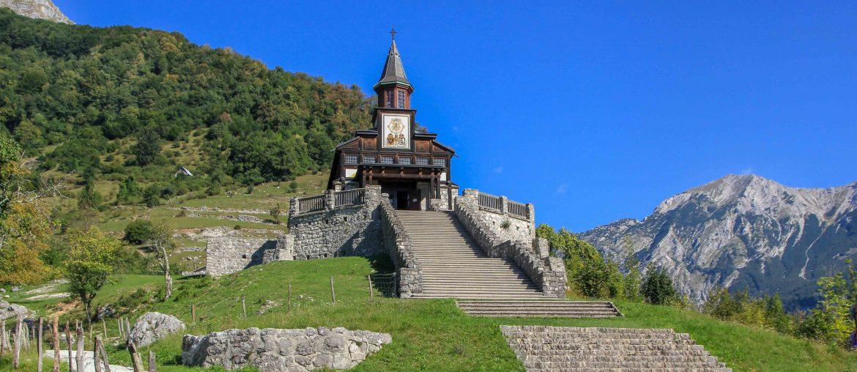 Javorca, memorial church of the holy spirit, Tolmin , Slovenia