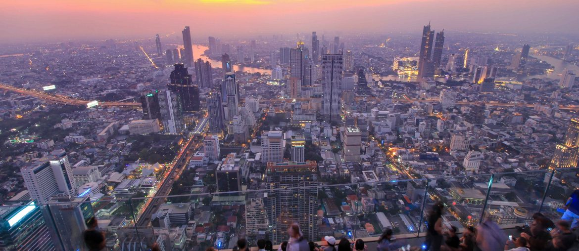King Power Mahanakhon Tower, Skybar, Sonnenuntergang